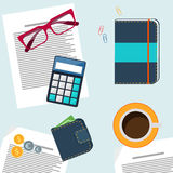 Office desktop with item icons Royalty Free Stock Image