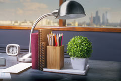 Office desktop with items Royalty Free Stock Photo