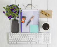 Office Desktop with many objects on wood Royalty Free Stock Photography