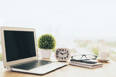 Office desktop sideview Royalty Free Stock Images