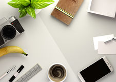 Office Desktop View with Business Objects Royalty Free Stock Photos