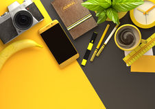 Office Desktop View with Business Objects in Yellow Stock Photos
