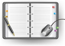 Office diary with line, ballpoint pen, and mouse Stock Photography