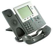 Office digital telephone set, off-hook. Office digital telephone set,  off-hook, isolated on the white background Stock Photos