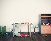 Office disorder chaos destruction Royalty Free Stock Image