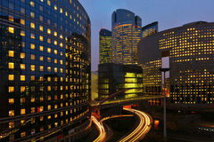 Office district La Defense at night Stock Images