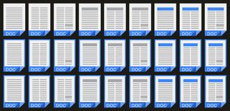 Office Doc_01. Stylized vector doc icons for pc Royalty Free Stock Photos