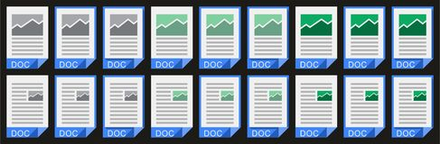 Office Doc_02. Stylized vector doc icons for pc Stock Images