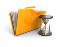 Office Document Folder With Sand Hourglass. 3d Render Illustration Royalty Free Stock Images