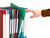 Office document folders standing in a row Stock Photo