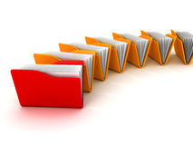 Office document folders on white background. 3d render illustration Stock Photos