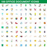 100 office document icons set, cartoon style. 100 office document icons set in cartoon style for any design vector illustration Royalty Free Stock Photography