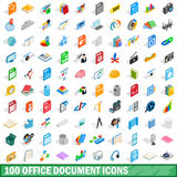 100 office document icons set, isometric 3d style. 100 office document icons set in isometric 3d style for any design vector illustration royalty free illustration