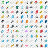 100 office document icons set, isometric 3d style. 100 office document icons set in isometric 3d style for any design vector illustration Royalty Free Stock Image