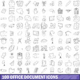 100 office document icons set, outline style. 100 office document icons set in outline style for any design vector illustration Stock Images