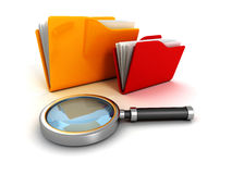 Office document paper folders and magnifying glass Royalty Free Stock Photo