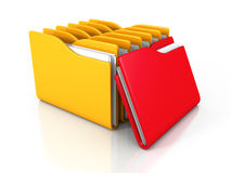 Office Document Paper Folders On White Background. 3d Render Illustration Royalty Free Stock Images