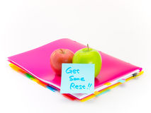 Office Documents and Apples; Get Some Rest Stock Images