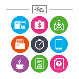 Office, documents and business icons. Stock Photos