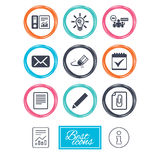 Office, documents and business icons. Stock Photo