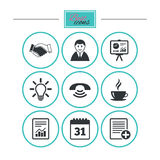 Office, documents and business icons. Royalty Free Stock Photo