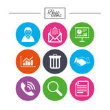 Office, documents and business icons. Stock Image