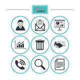 Office, documents and business icons. Royalty Free Stock Images