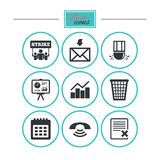 Office, documents and business icons. Stock Images