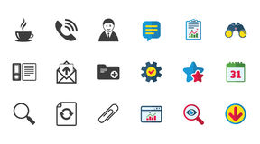 Office, documents and business icons. Coffee, phone call and businessman signs. Safety pin, magnifier and mail symbols. Calendar, Report and Download signs Royalty Free Stock Image