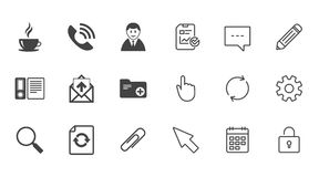 Office, documents and business icons. Coffee, phone call and businessman signs. Safety pin, magnifier and mail symbols. Chat, Report and Calendar line signs Stock Images