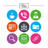 Office, documents and business icons. Coffee, phone call and businessman signs. Safety pin, magnifier and mail symbols. Classic simple flat icons. Vector Stock Photography