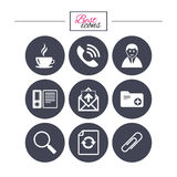 Office, documents and business icons. Coffee, phone call and businessman signs. Safety pin, magnifier and mail symbols. Classic simple flat icons. Vector Stock Images
