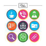Office, documents and business icons. Coffee, phone call and businessman signs. Safety pin, magnifier and mail symbols. Classic simple flat icons. Vector Stock Photos