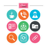 Office, documents and business icons. Coffee, phone call and businessman signs. Safety pin, magnifier and mail symbols. Colorful flat buttons with icons Royalty Free Stock Images