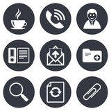 Office, documents and business icons. Coffee, phone call and businessman signs. Safety pin, magnifier and mail symbols. Gray flat circle buttons. Vector Royalty Free Stock Photo