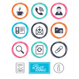 Office, documents and business icons. Coffee, phone call and businessman signs. Safety pin, magnifier and mail symbols. Report document, information icons Royalty Free Stock Image