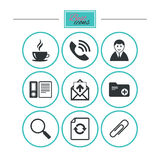 Office, documents and business icons. Coffee, phone call and businessman signs. Safety pin, magnifier and mail symbols. Round flat buttons with icons. Vector Stock Photos