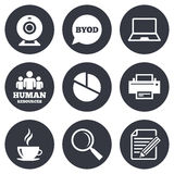 Office, documents and business icons Stock Image