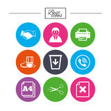 Office, documents and business icons. Royalty Free Stock Photography