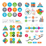 Office, documents and business icons. Royalty Free Stock Photos
