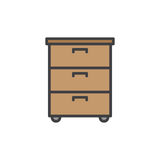 Office documents cabinet filled outline icon Royalty Free Stock Photo
