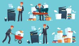 Office documents copier. Printed business papers, businessman broke printer and documents copy machine cartoon vector stock illustration