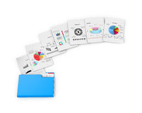 Office documents and folders on a white background. Royalty Free Stock Image