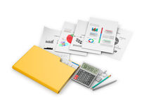 Office documents and folders on a white background. Stock Image
