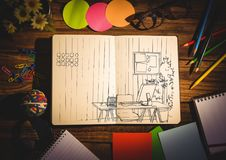 Office doodle on notepad surrounded by stationary. Digital composite of Office doodle on notepad surrounded by stationary Stock Images