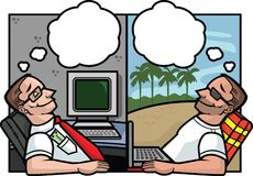 Office Dream. A man in his office dreaming and a man on the beach dreaming Stock Photography