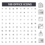 Office editable line icons, 100 vector set, collection. Office black outline illustrations, signs, symbols. Office editable line icons, 100 vector set on white royalty free illustration