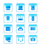 Office electronics icons. Modern office electronics vector icon-set in blue Royalty Free Stock Photos