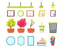 Office elements set. Plants in stock illustration