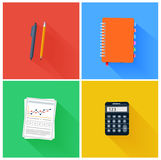 Office elements. Such as pen, pencil, notebook and calculator in flat design. Set for web and mobile applications of office work Stock Images